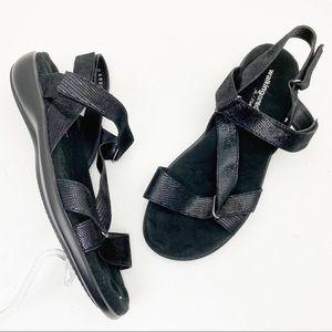 WALKING CRADLES Shimmer Leather Strap Flat Sandals